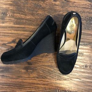 Micheal Kors suede wedge loafers